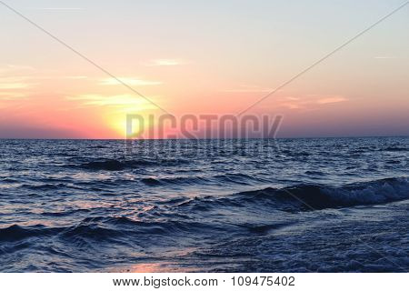 Sunset on the summer beach