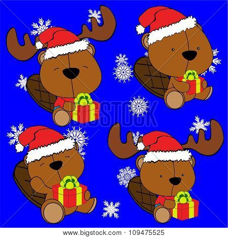baby beaver cartoon xmas set