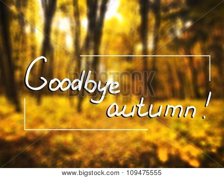 Blured autumn forest and text Goodbye autumn