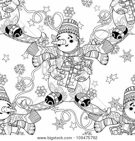 Zentangle doodle hand drawn Christmas Snowman ski.
