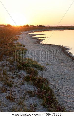Colourful sunset over a wild beach near water