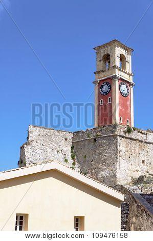 Clock tower in Palaio Frourio, city of Corfu