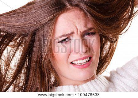 Woman Pulls Hair Being Sad.