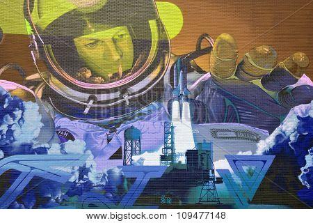 Street art astronaut