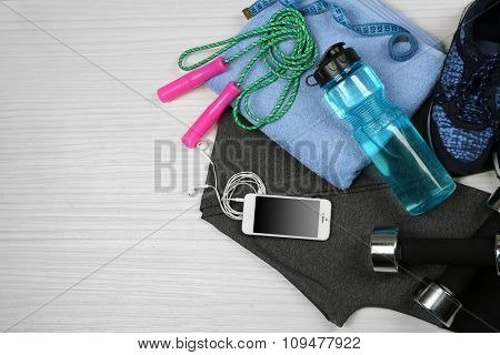 Set for sports on light background