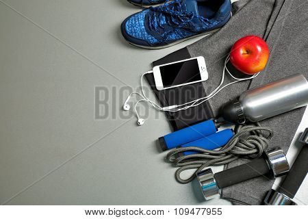 Set for sports on gray background