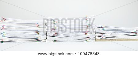 Colorful Paper Clip With Pile Of Report And Brown Envelope