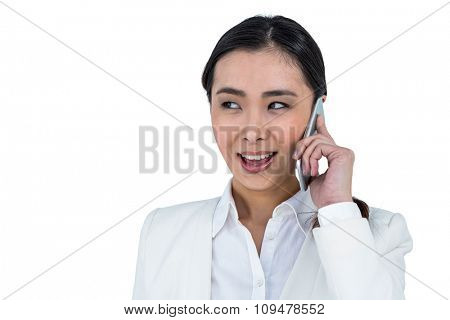 Businesswoman using her smart phone against white background