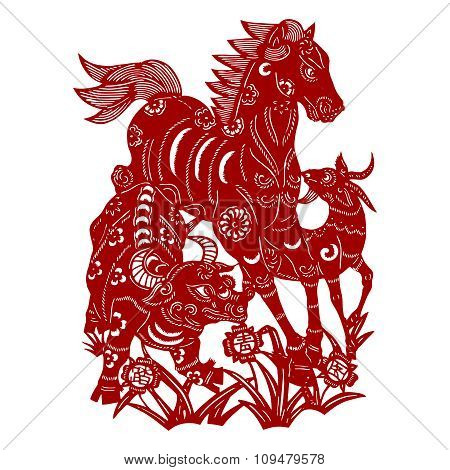 Vector Chinese Horse Paper cutting