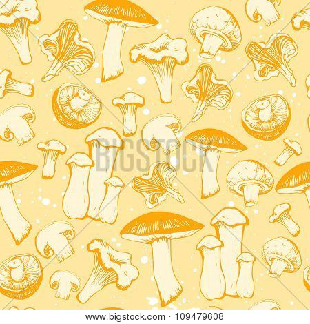Hand-drawn sketch of mushrooms. Seamless background.