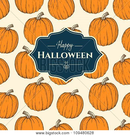 Seamless background with pumpkins. Halloween pattern.