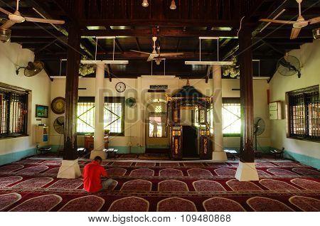 Interior of Peringgit Mosque in Malacca, Malaysia