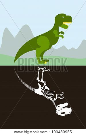Tyrannosaurus In Nature. Skeleton In Ground Soil. Jurassic Monster And Dice Ancient Raptor.