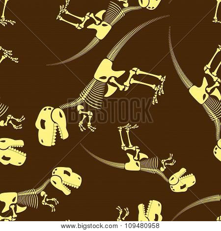 Dinosaur Bones Seamless Pattern. Tyrannosaurus Skeleton T-rex. Backbone Of Ancient Jurassic Predator