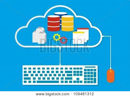 Working On Cloud Mouse And Keyboard Connected To Cloud Network Conputing Modern Business Design. Vec