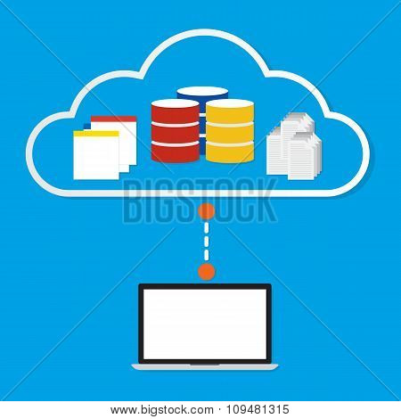 Computer Working On Cloud With Database Application And Document On Cloud. Vector Illustration Cloud