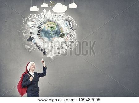 Santa woman running with red gift bag on back. Elements of this image are furnished by NASA