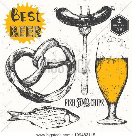Sketch of beer and snack: sausages, pretzel, fish.