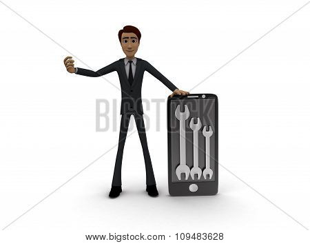 3D Man With Smart Phone And Mechanical Wrench In It Concept