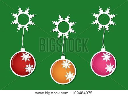 Christmas Multicolor Balls With White Snows On Green Background. Vector Illustration Design.