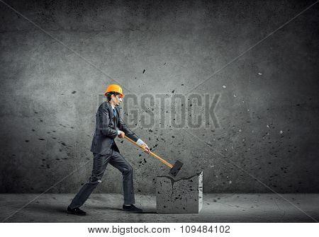 Engineer man break stone
