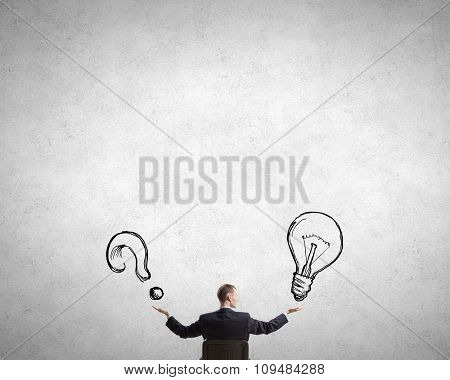 Confident businessman with hands spread apart presenting money earning concept