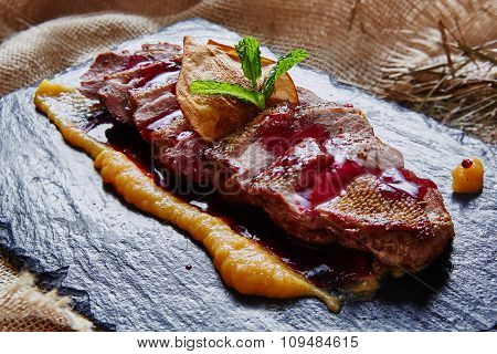 grilled meat, sliced duck