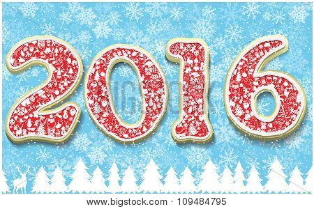 Creative Happy New Year 2016 In Shape Of Gingerbread Design. Year Number As Cookies On Snowflakes Ba