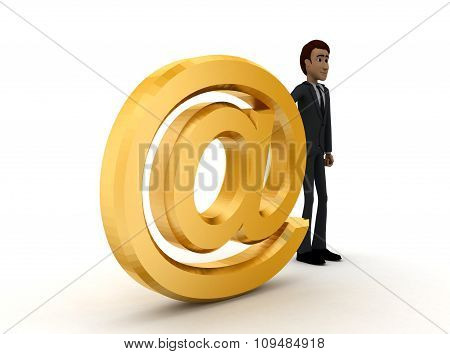 3D Man Presenting At The Rate Symbol Concept