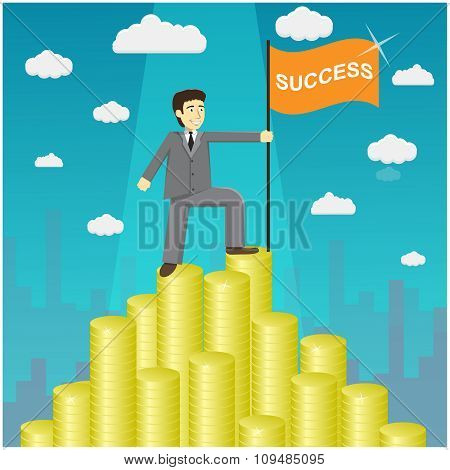 Vector Illustration Of Businessman Proudly Standing On The Huge Money Staircase. Money Mountain Peak