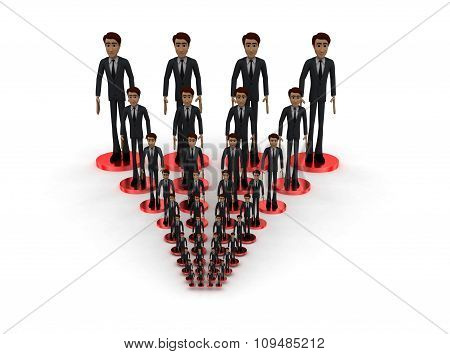 3D Men Standing On Connected Network Connection Concept
