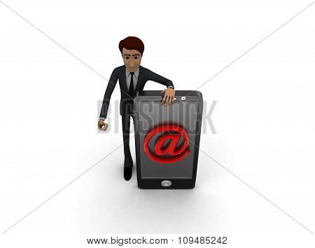 3D Man With Smart Phone And  Mail On It Concept