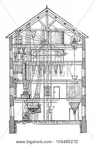 Section of the same mill, vintage engraving.