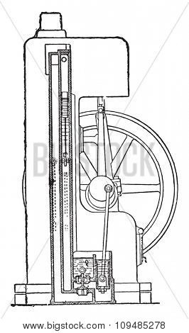 Davey engine. Vertical section of the condenser, vintage engraved illustration. Industrial encyclopedia E.-O. Lami - 1875.