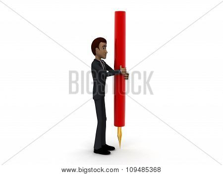 3D Man Holding Foundtain Pen In Hand Concept