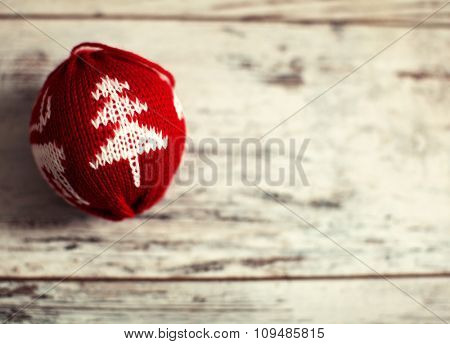 Christmas ball on wood floor. Winter decoration