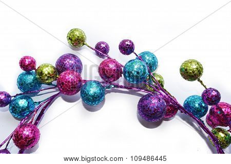 Semicircle of colorful baubles