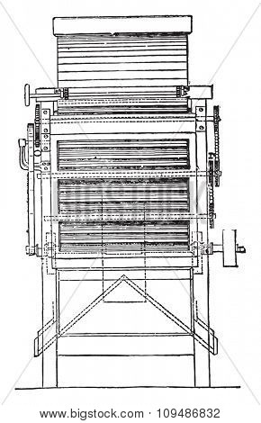 End view of the same purifier, vintage engraved illustration. Industrial encyclopedia E.-O. Lami - 1875.