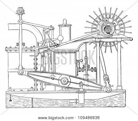 View of an old beam engine, vintage engraved illustration. Industrial encyclopedia E.-O. Lami - 1875.