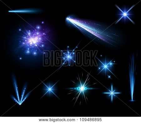 Festive blue firework set isolated on black background. Vector illustration.