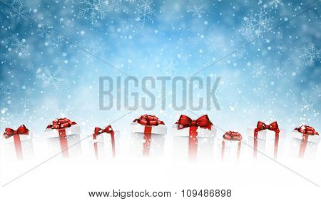 New Year background with gifts and snow. Vector illustration.