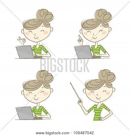 Women Posing In Front Of Laptop Computer