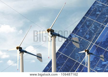 Solar Cell Panel And  Wind Turbine