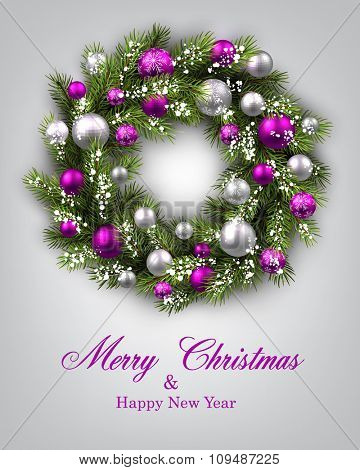 New Year and xmas card with Christmas wreath. Vector illustration.