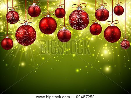 New Year background with red balls. Vector illustration.