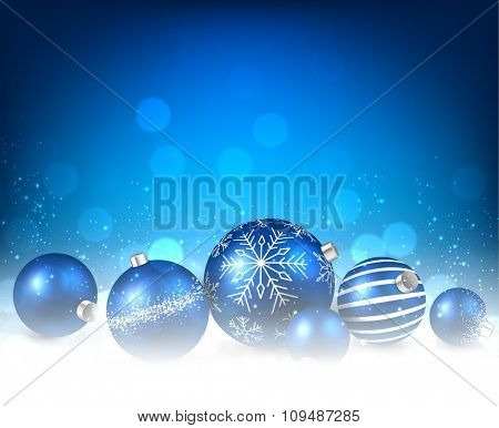 Christmas blue background with balls. Vector paper illustration.