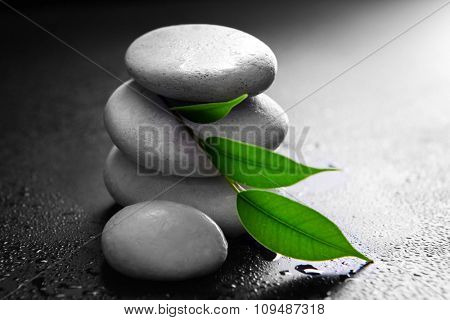 Pile of pebbles with leaf on black background