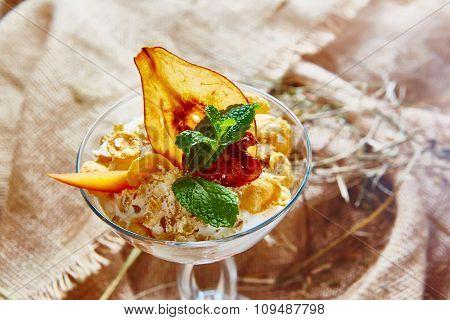 Homemade ice cream with mint