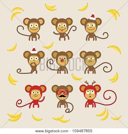 Set of cartoon monkeys.