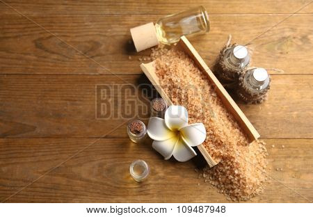 Beautiful relax composition on wooden background